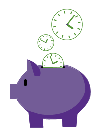 Clocks falling into a piggy bank